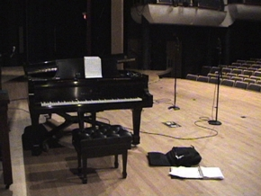Piano and microphone set up.